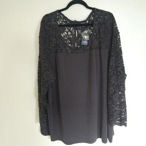 NWT Torrid gray lace sheer long sleeve tunic top